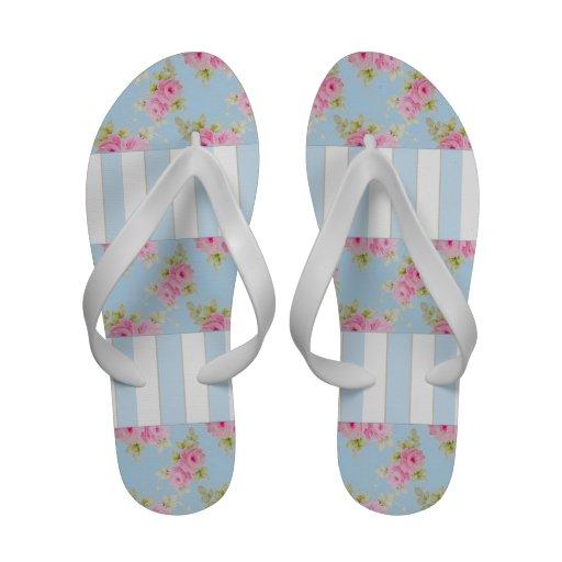 Flips-flopes color de rosa y de las rayas rosados chanclas de playa