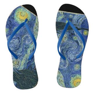 Flips-flopes de la noche estrellada de Van Gogh