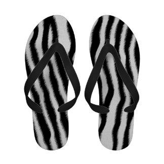 Flips-flopes de la piel de la cebra de las mujeres