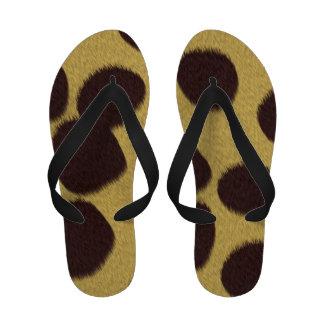 Flips-flopes de la piel del guepardo de las mujere