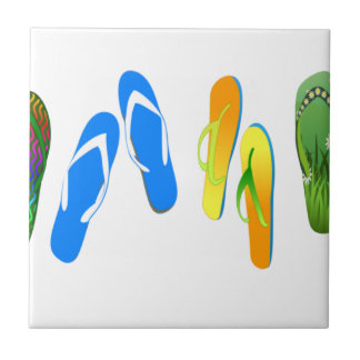 Flips-flopes de la playa azulejo cuadrado pequeño