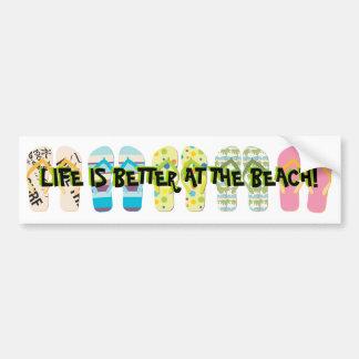 Flips-flopes de la playa etiqueta de parachoque