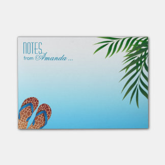 Flips-flopes de la playa personalizados post-it nota