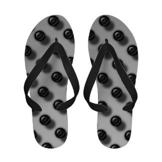 Flips-flopes de mármol negros de plata de Ombre