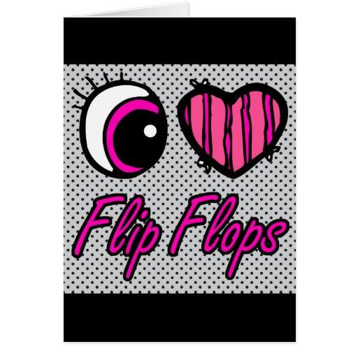 Flips-flopes del amor del corazón I del ojo de Emo Tarjeton