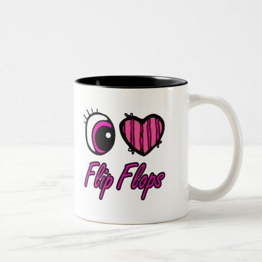 Flips-flopes del amor del corazón I del ojo de Emo Tazas