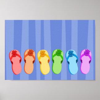 Flips-flopes del arco iris póster