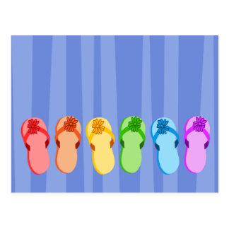 Flips-flopes del arco iris tarjetas postales