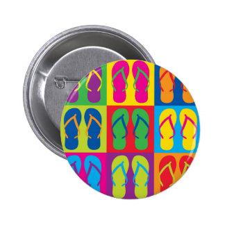 Flips-flopes del arte pop chapa redonda 5 cm