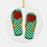 Flips-flopes del fiesta de Navidad Adorno Redondo De Cerámica