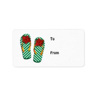 Flips-flopes del fiesta de Navidad Etiqueta De Dirección