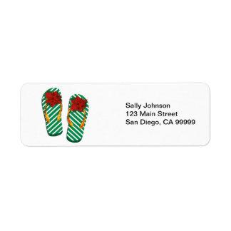 Flips-flopes del fiesta de Navidad Etiquetas De Remite