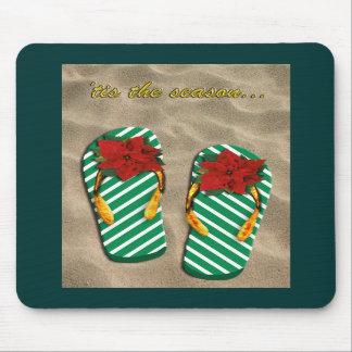 Flips-flopes del fiesta de Navidad Alfombrillas De Ratón