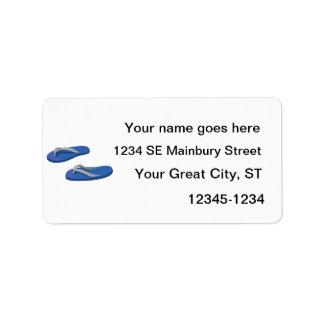 flips-flopes del gris azul compensados etiquetas de dirección