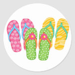 Flips-flopes del verano etiquetas redondas