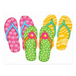 Flips-flopes del verano tarjetas postales