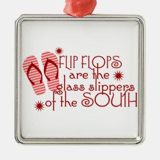Flips-flopes….Deslizadores de cristal del sur Adorno Navideño Cuadrado De Metal