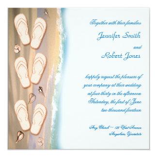 Flips-flopes en la invitación del boda de playa