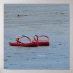 Flips-flopes en la playa impresiones