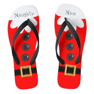 Flips-flopes festivos de encargo rojos del navidad