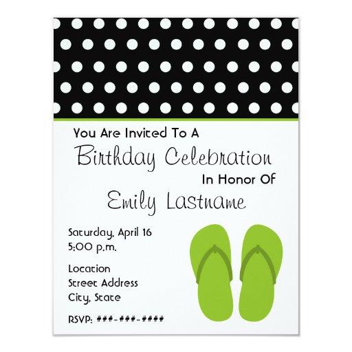 Flips-flopes/fiesta de cumpleaños verdes de los anuncios personalizados
