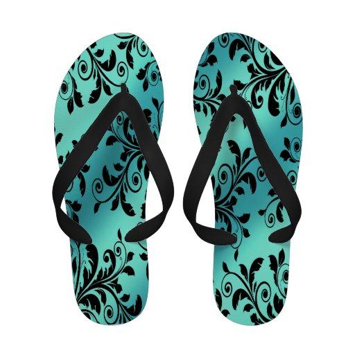 Flips-flopes florales de la aguamarina negra sandalias