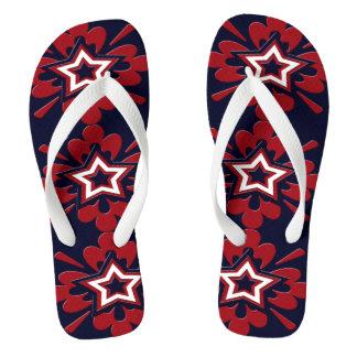 Flips-flopes florales patrióticos de las estrellas