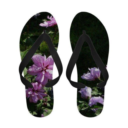 Flips-flopes florales rosados