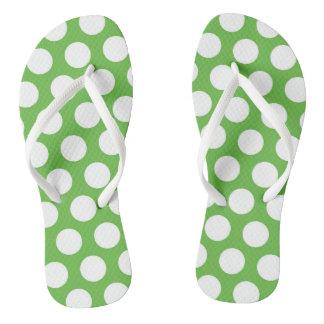 Flips-flopes grandes verdes y blancos del punto