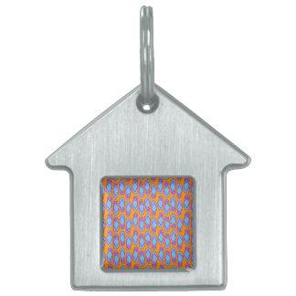 Flips-flopes hawaianos en azul y naranja placa de nombre de mascota