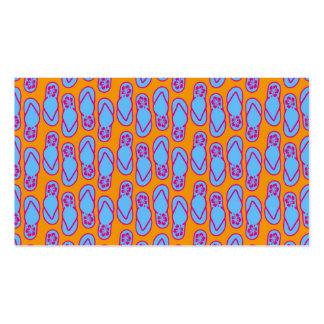 Flips-flopes hawaianos en azul y naranja tarjetas de visita