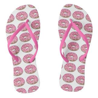 Flips-flopes helados rosa del desayuno del buñuelo chanclas