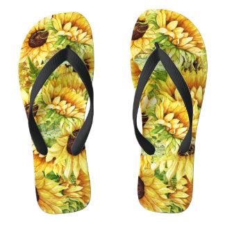 Flips-flopes hermosos florecientes de los chanclas