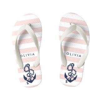Flips-flopes náuticos rosados de los chicas del
