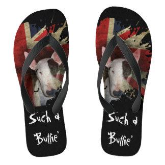 Flips-flopes negros de bull terrier Union Jack