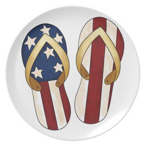 Flips-flopes patrióticos plato de comida