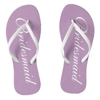 Flips-flopes púrpuras del boda de la dama de honor