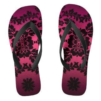 Flips-flopes púrpuras del estampado de flores del