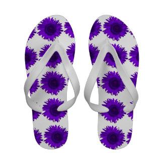 Flips-flopes púrpuras del girasol chanclas playa