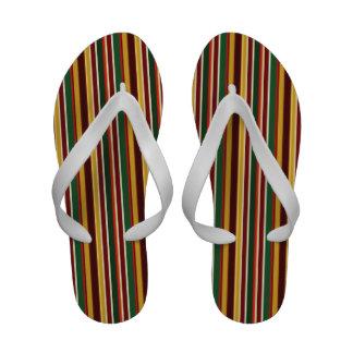 Flips-flopes rayados coloridos enrrollados