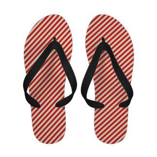 Flips-flopes rayados rojos y blancos del Pin
