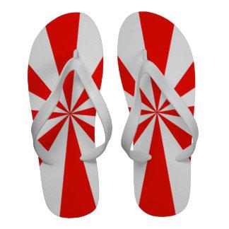Flips-flopes retros rojos y blancos del modelo de