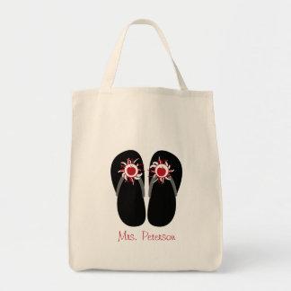 Flips-flopes rojos de Apple del profesor con Pom P Bolsa Tela Para La Compra
