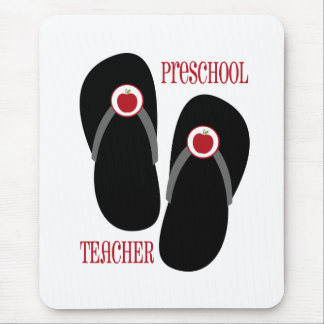 Flips-flopes rojos de Apple del profesor preescola Alfombrillas De Ratones