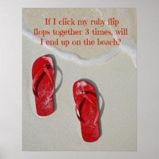 Flips-flopes rojos de rubíes póster