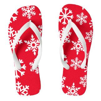 Flips-flopes rojos del navidad del copo de nieve