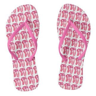 Flips-flopes rosados de la danza de la bailarina
