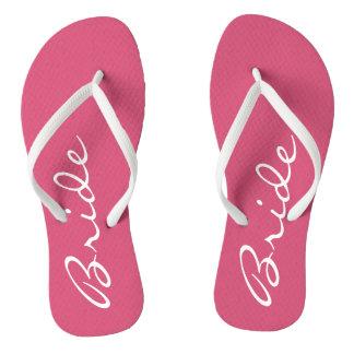 Flips-flopes rosados de la novia