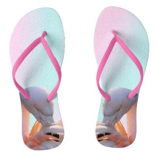 Flips-flopes rosados de los flamencos