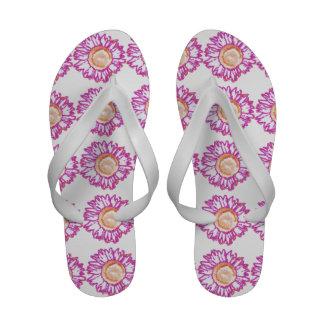 Flips-flopes rosados de neón del girasol chanclas